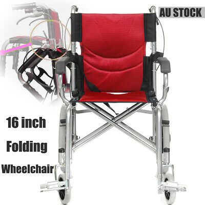 16 INCH Aluminium Transport Folding Wheelchair Light Weight Manual Mobility