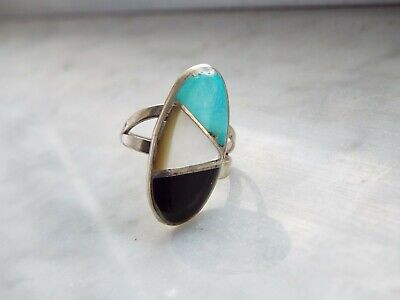Old Pawn  Turquoise Jet M of P Sterling Silver Ring S 5