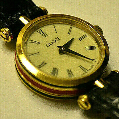 6bbbfff8058 ⭐️Classic Vintage Gucci Leather Watch Red and Green Gold Plated Timepeice⭐️