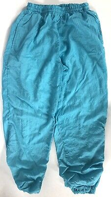 80s 90s Womens Nylon Windbreaker Track Pants Vintage Sz S Teal Blue