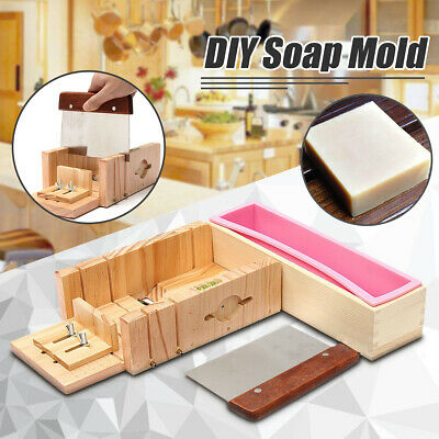Loaf Soap Mould Silicone Wooden Mold Soap Making Tools Slicer Cutter NEW