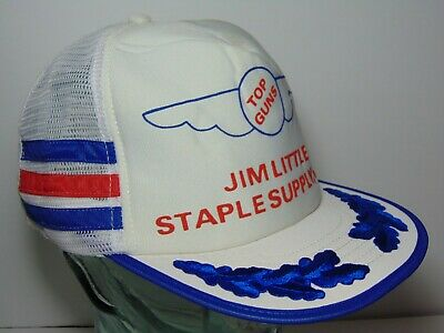 Vintage TOP GUNS RED WHITE BLUE Snapback Trucker Hat 3 SIDE STRIPES MADE IN USA