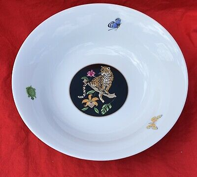 "NWT Unused Lynn Chase Jaguar Jungle Serving Bowl 10"" with 24K gold"