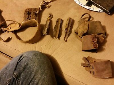 7 Antique Vintage Corn Husker Shucker Tools gloves Primative leather Corn Queen