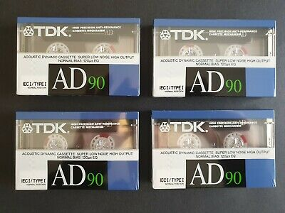 4 x TDK AD90 Type I Blank Audio Cassette Tapes
