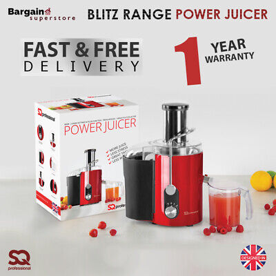 800W Centrifugal Power Juicer Electric Juice Extractor Whole Fruit & Veg Red