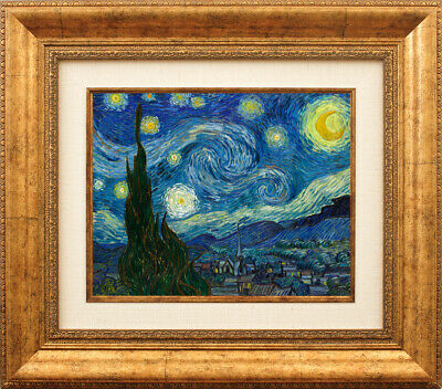 Starry Night Van Gogh Gold Color FRAMED Art Print Canvas Wall Decor Painting HQ
