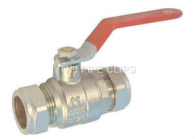 Compression Lever Arm Ball Valve 15, 22 or 28mm RED Handle Isolation Tap on off