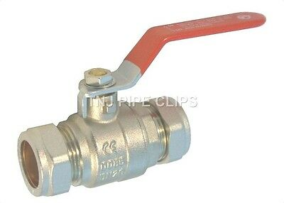 15mm, 22mm, 28mm Compression Lever Ball Valves - RED Handle Full bore