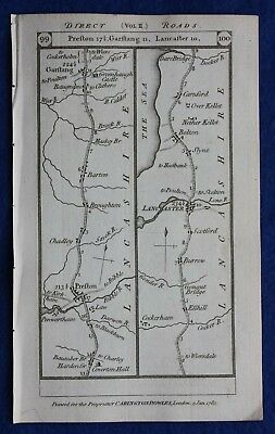 Original antique road map LANCASHIRE, WESTMORLAND, PRESTON, KENDAL,Paterson 1785
