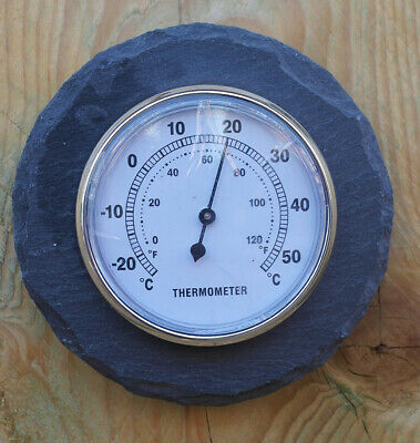 Wall mounted round slate outdoor thermometer