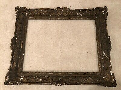 Museum Antique 27x20 Carved 19th Century French Baroque Large Picture Frame 9c