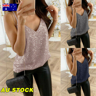 Womens Sequin Sleeveless Tops V Neck Strappy Vest Summer Casual Camisole Tank