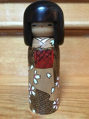 Exquisite Japanese Kokeshi hand crafted doll, 7 1/4""