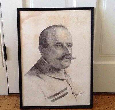 Cloyd L Boykin Pencil Drawing Art Signed Framed VINTAGE maybe of Marshal Foch