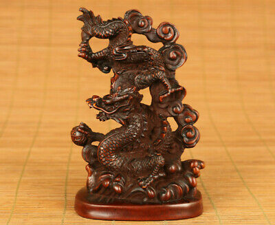 unique chinese old boxwood hand carved dragon statue figure netsuke home deco