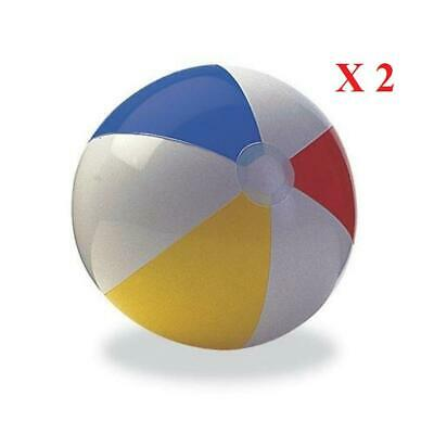 "2 X 20"" Inflatable Panel Beach Ball Blow Up Holiday Swimming Pool Game Party Toy"