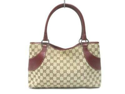 8f5fa17e742 Auth GUCCI GG 113015 Beige DarkBrown Bordeaux Jacquard Leather Tote Bag