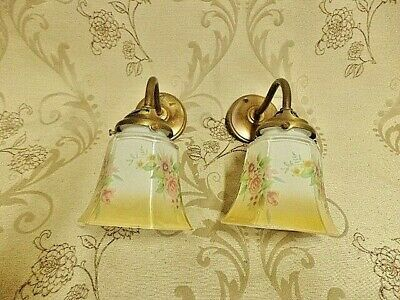 Pair Of French  Shabby Chic Country Cottage Glass Wall Lights  | (51F)