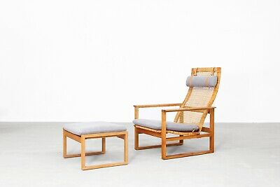 Lounge Chairs by Borge Mogensen with ottoman for Fredericia, Danishdesign