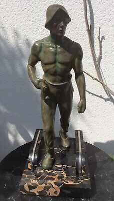 Franz Iffland Art Deco Spelter Figure Of Miner With Axe Marble And Chrome Base