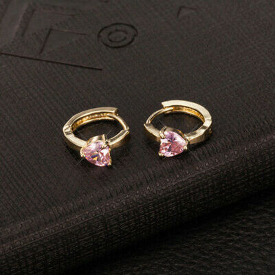31fb23277 Raibow CRYSTAL Gold Filled Toddler Girls Safety earings Heart Hoop Earrings  Hot