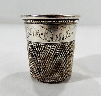 """Antique Sterling Silver Shot Glass """"Only A Thimble Full"""""""