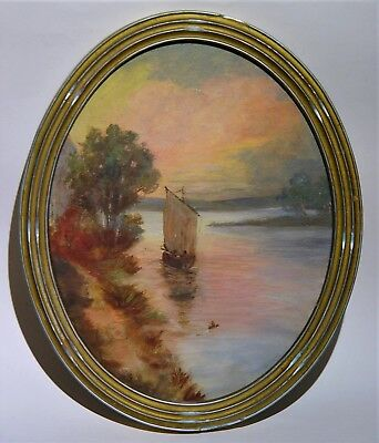 Antique Art & Crafts Oval Landscape Sailboat Painting in Original Period Frame
