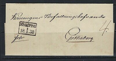B&D: 1838 Sweden stampless cover from Jonkoping to Goteborg