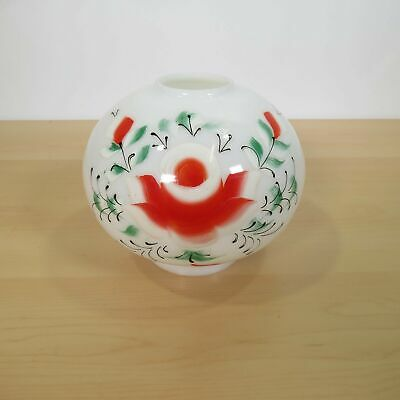 Vintage Small 5.5 In Hand-painted Rose Glass Hurricane Lamp Shade