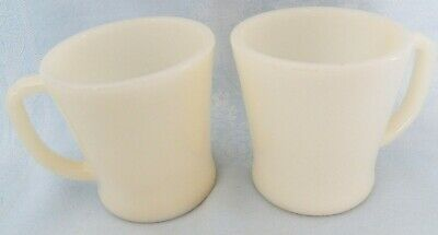 """Vintage Anchor Hocking Fire King White 2 Mugs Cups """"D"""" Handle"""