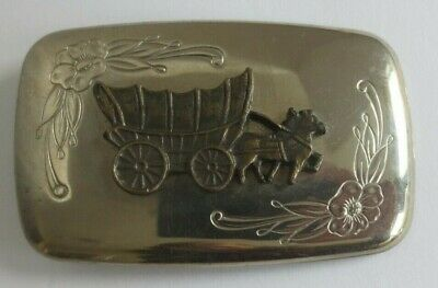 Vintage Silver Covered Wagon Horses Belt Buckle