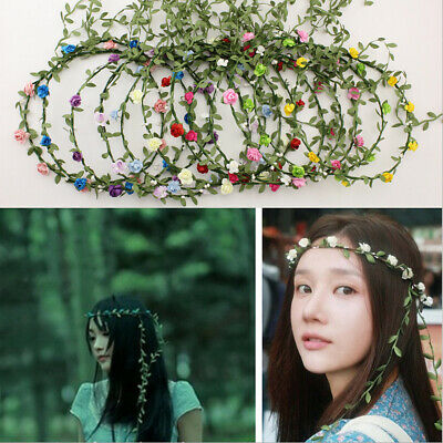 Boho Ladies Floral Garland Headband Flower Festival Wedding Party Full Colours