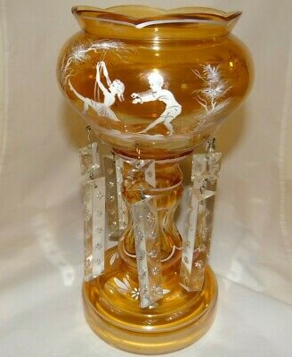 Antique Mantle Luster Amber Etched and Painted Glass with 6 Crystal Prisms