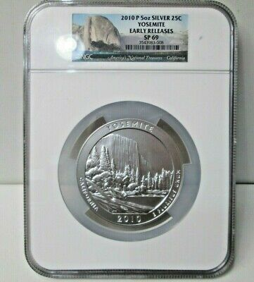 2010 American the Beautiful Silver 5 Ounce 25C Uncirculated YOSEMITE NGC SP69