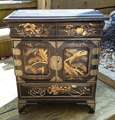 Antique Chinese Desk Top Black Lacquer Cabinet with Gilded Panels, Hand Painted.