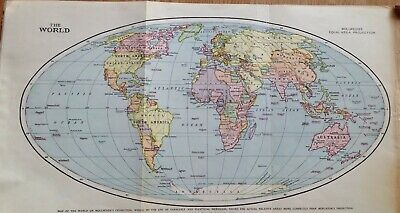 Mollweide's Map of The World Print -  over 100 years old