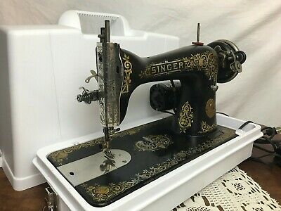 SERVICED Heavy Duty Vtg Singer 15 Sewing Machine Tiffany Gold for Denim Leather