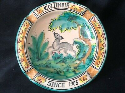 Columbia (Restaurant) Since 1905 / Stoneware / Footed Ash Tray / Signed / Spain
