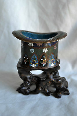 Antique Cloisonne Top Hat Pot