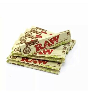 Raw Rolling Paper, King Size Slim, Organic Hemp 32 Leaves x 3 (Pack of 3) Cone