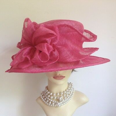 Hand Made Sinamay Layered Detail Rose Colour Dress Hat Weddings Church Races