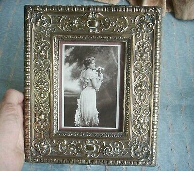 Old Antique Victorian Embossed Brass Wood Photo Frame 1880 Photo Edwardian Lady