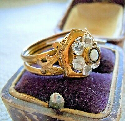 Antique Victorian 10k Gold Pearl Rock Crystal or Glass Ornate Ring, Sz 10 Appr