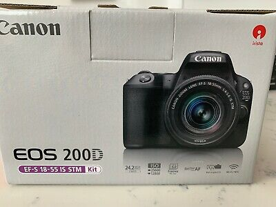 Canon EOS 200D Black + EF-S 18-55mm f/1.4-5.6 IS STM Lens BRAND NEW