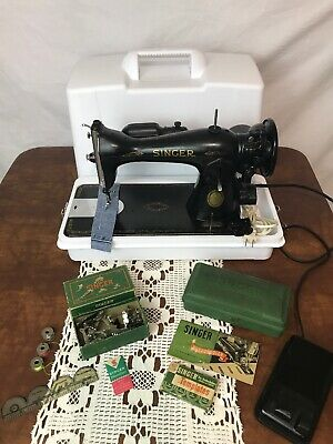 *SERVICED* Direct Drive Heavy Duty Vtg Singer Sewing Machine Denim Leather 15-91