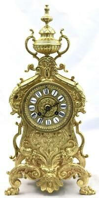 Antique Mantle Clock French Nice Rocco Embossed Bronze Bell Striking C1870