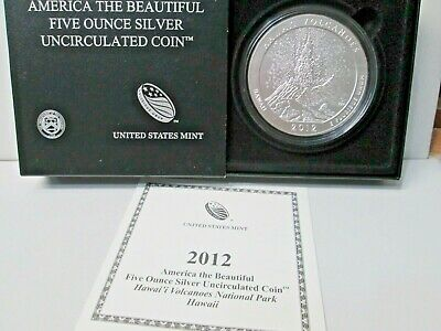2012 American the Beautiful .999 Silver 5 Ounce 25C Uncirculated HAWAII VOLCANO