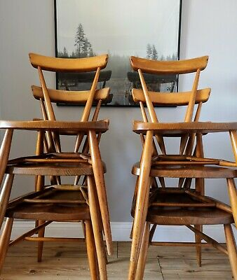 *** Rare Set of 6 Vintage Full Size Ercol Stacking Chairs Dining Mid Century ***