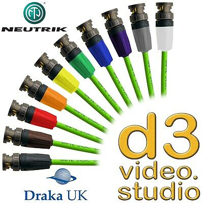 New 12G UHD SDI Draka Pro 50 Digital Video & Neutrik UHD Rear Twist BNC Cable